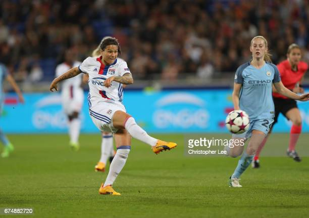 Dzsenifer Marozsan of Olympique Lyon shoots during the UEFA Women's Champions League Semi Final second leg match between Olympique Lyon and...