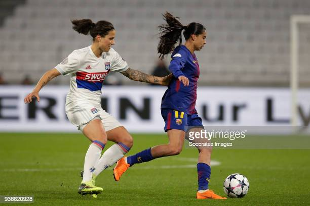 Dzsenifer Marozsan of Olympique Lyon Women Andressa Alves of FC Barcelona Women during the match between Olympique Lyon Women v FC Barcelona Women at...