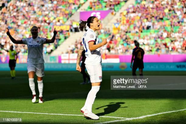 Dzsenifer Marozsan of Olympique Lyonnais Women celebrate scoring the opening goal during the UEFA Women's Champions League Final between Olympique...