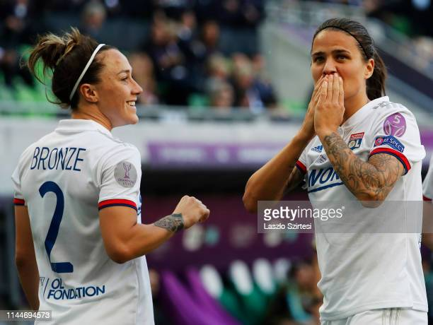 DzseniferMarozsan of Olympique Lyonnais celebrates her goal with LucyBronze of Olympique Lyonnais during the UEFA Women's Champions League Final...