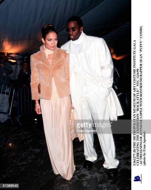 The Metropolitan Museum Of Art Costume Institute Gala Celebrating The Exhibition Rock Style Nyc 12/6/99 Actress/Singer Jennifer Lopez With Boyfriend...