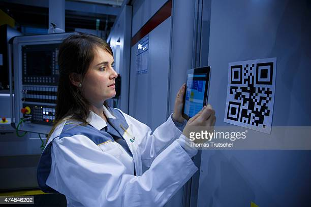 E3research factory of the Fraunhofer Institute for Machine Tools and Forming Technology in Chemnitz working with a QR Code on a research project...