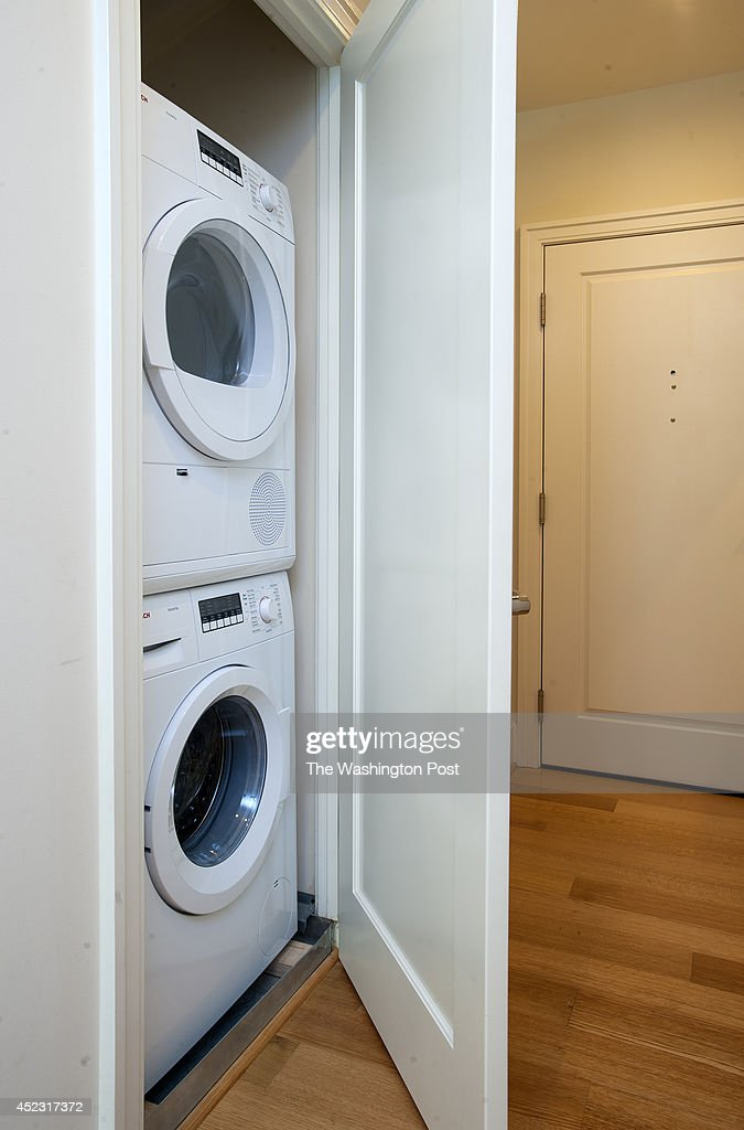 Each of the apartments has a stackable washer/dryer in a ...