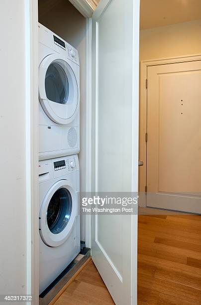 Each of the apartments has a stackable washer/dryer in a closet in the unit as seen July 8 2014 in Washington DC