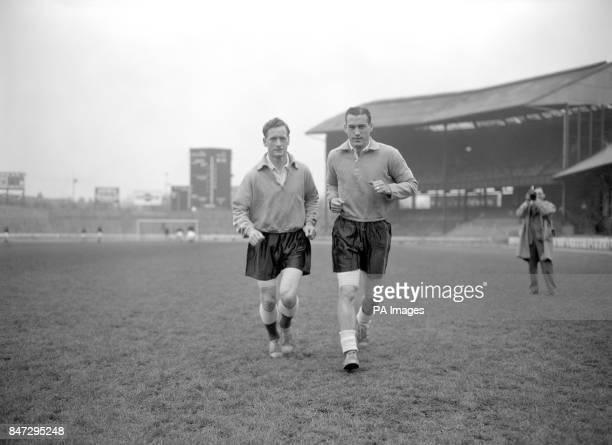 Each with a bandaged leg Preston North End's Tom Finney and Bolton Wanderers Nat Lofthouse pictured training at Chelsea's Stamford Bridge ahead of an...