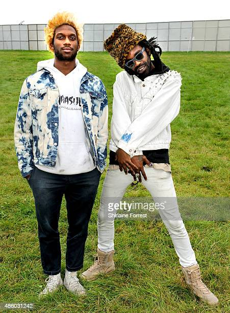 Eaddy and theOGM of Ho99o9 pose offstage after performing on Day 3 of The Leeds Festival at Bramham Park on August 30 2015 in Leeds England