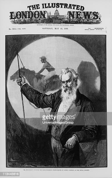 Eadwaerd Muybridge Englishborn American inventor and photographer giving a talk to the Royal Society London England on his photographic studies of...