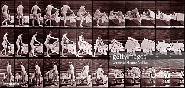 Eadward Muybridge Woman getting into bed Sequence of photographs to show incremental movement 1887