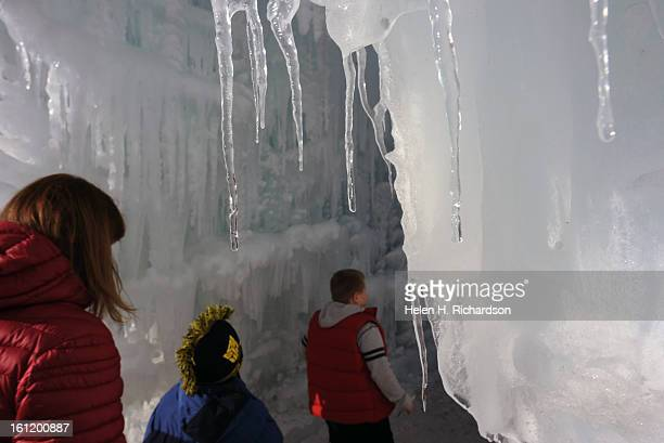 Eager onlookers head towards the Ice Palace The Ice Castles at Silverthorne are an unparalleled creation of walkways illuminated ice formations...