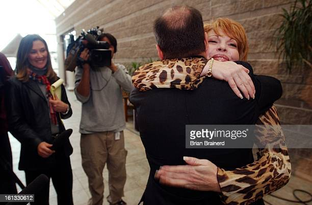 Eagle Colo Feb 3 2003 Former Georgetown mayor Koleen Brooks hugs her lawyer Michael Andre after receiving her sentence of a fine of $100 after she...