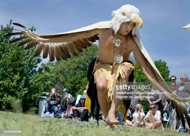 Eagle dancer Steve Garcia performs during the 10th anniversary celebration of Pahne an indigenous village that is said to date back 9000 years The...