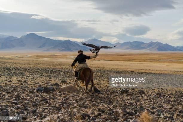 モンゴルの砂漠で馬に乗ったイーグルハンター - モンゴル ストックフォトと画像