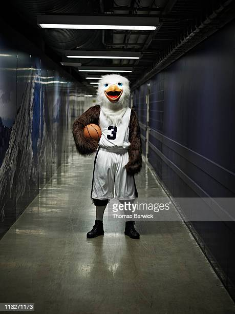 Eagle mascot standing in hallway of arena