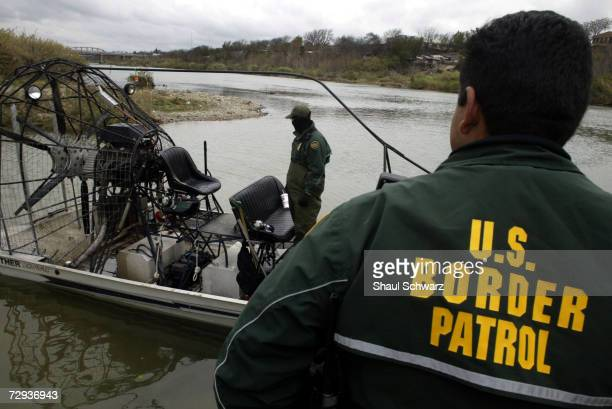 Eagle Pass Border Patrol use hover boats to patrol the Rio Grande US Mexico border February 05 2003 Hundreds of people a day will cross the river at...