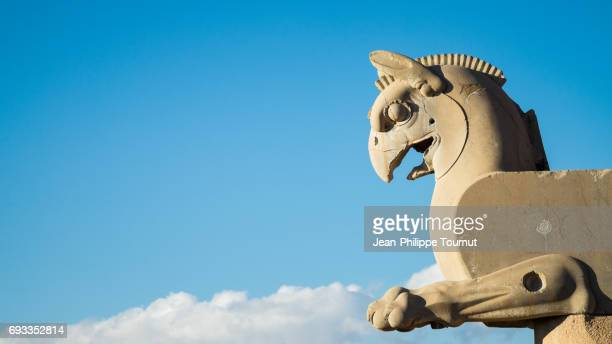 eagle sculpture in ancient city of persepolis, shiraz, fars province, iran - mesopotamian art stock photos and pictures