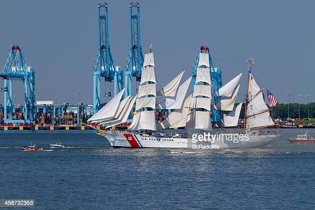 uscgc eagle under sail,  heads to norfolk for opsail 2012. - norfolk virginia stock photos and pictures