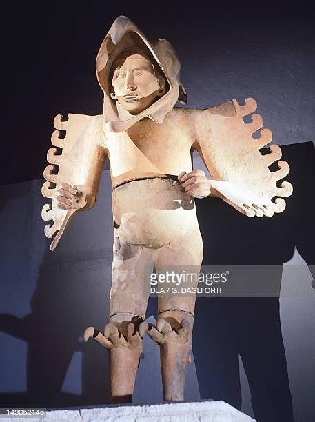 Eagle warrior Aztec military order Clay statue postclassic period originating from Temple Mayor Mexican Civilization Mexico City Museo Del Templo...