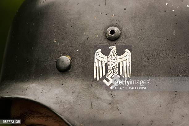 Eagle with swastika detail from the helmet of a German soldier of the 26th Panzer Division 9th Panzergrenadier Regiment Second World War 20th century...