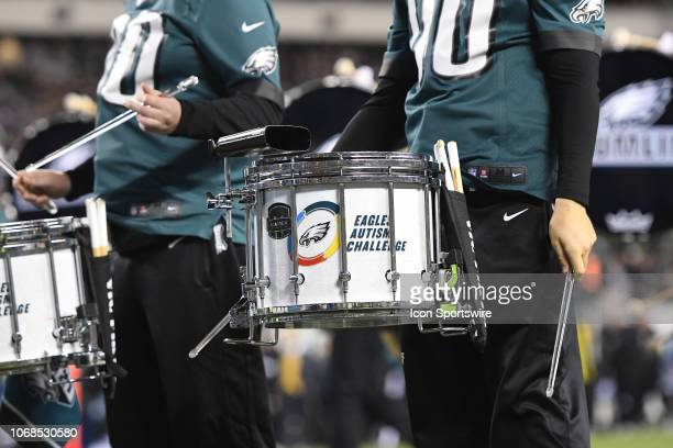 Eagles Autism Challenge logo is displayed on the drum line during the Washington Redskins versus the Philadelphia Eagles game on December 3 at...