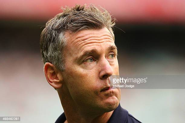 Eagles coach Adam Simpson look ahead during the round 10 AFL match between the Collingwood Magpies and West Coast Eagles at Melbourne Cricket Ground...