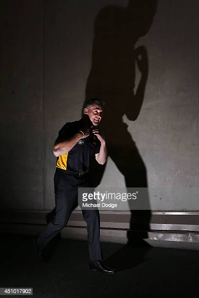 Eagles coach Adam Simpson walks up the race during the round 14 AFL match between the St Kilda Saints and the West Coast Eagles at Etihad Stadium on...