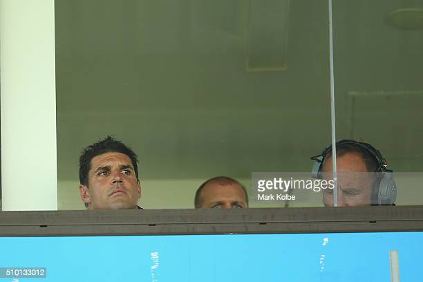 Eagles coach Trent Barrett watches on from the coaches box during the NRL Trial match between the Cronulla Sharks and the Manly Sea Eagles at...