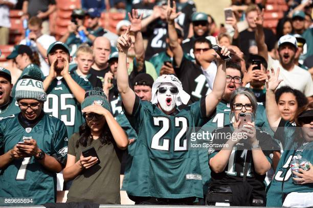 Eagles fan cheer on the team during warmups prior to an NFL game between the Philadelphia Eagles and the Los Angeles Rams on December 10 2017 at the...