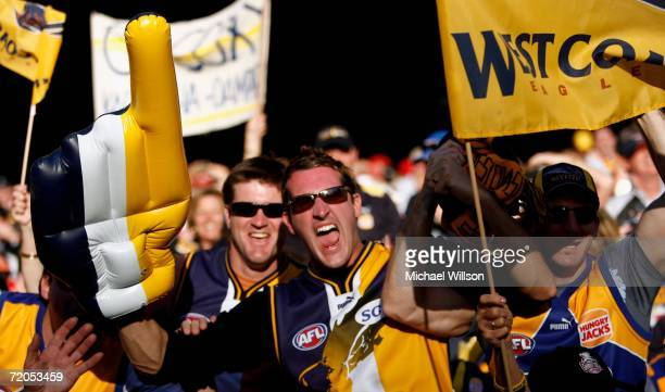 Eagles fans celebrate during the AFL Grand Final match between the Sydney Swans and the West Coast Eagles at the Melbourne Cricket Ground on...