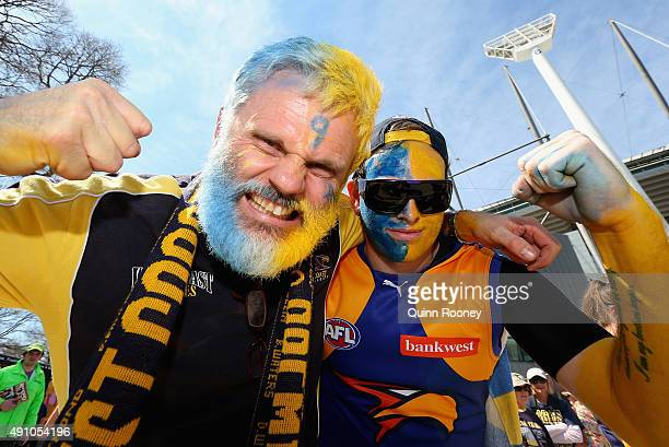 Eagles fans show their support during the 2015 AFL Grand Final match between the Hawthorn Hawks and the West Coast Eagles at Melbourne Cricket Ground...