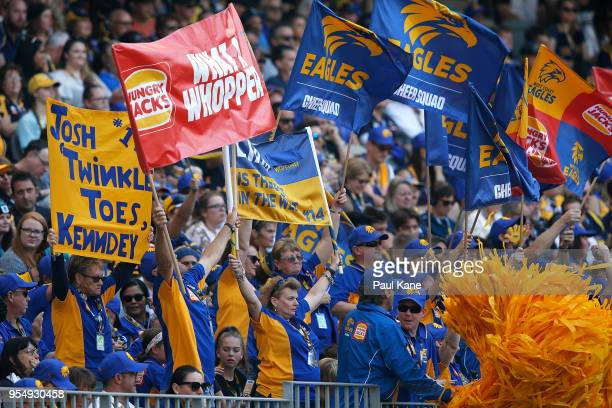 Eagles fans show their support during the round seven AFL match between the West Coast Eagles and the Port Adelaide Power at Optus Stadium on May 5...
