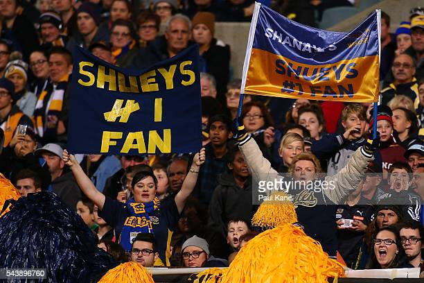 Eagles fans show their support for Luke Shuey during the round 15 AFL match between the West Coast Eagles and the Essendon Bombers at Domain Stadium...