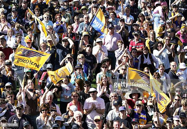 Eagles fans show their support for the West Coast Eagles during a reception after the team arrived back from the 2005 AFL Grand Final at Subiaco Oval...