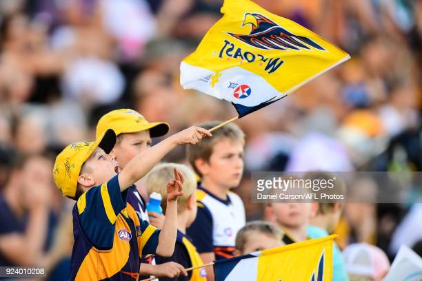 Eagles fans urge on their team during the AFL 2018 JLT Community Series match between the West Coast Eagles and the Port Adelaide Power at...