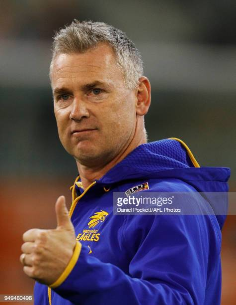 Eagles head coach Adam Simpson gestures to Nic Naitanui of the Eagles during the round five AFL match between the Carlton Blues and the West Coast...