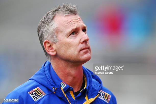 Eagles head coach Adam Simpson is seen during the round 19 AFL match between the North Melbourne Kangaroos and the West Coast Eagles at Blundstone...