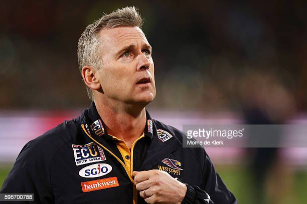 Eagles head coach Adam Simpson looks on during the round 23 AFL match between the Adelaide Crows and the West Coast Eagles at Adelaide Oval on August...