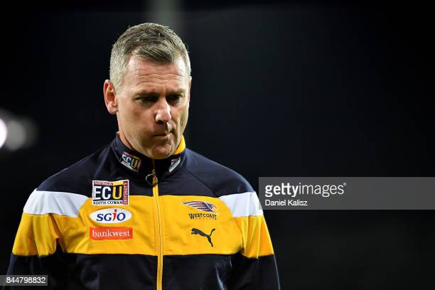 Eagles head coach Adam Simpson walks from the field during the AFL First Elimination Final match between Port Adelaide Power and West Coast Eagles at...