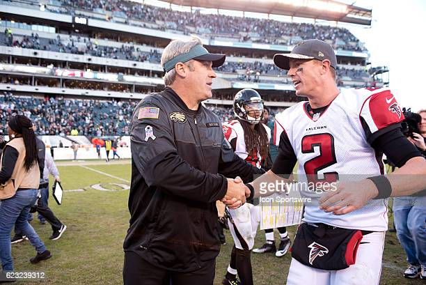 Eagles Head Coach Doug Pederson shakes hands with Atlanta Falcons Quarterback Matt Ryan after the game between the Atlanta Falcons and Philadelphia...