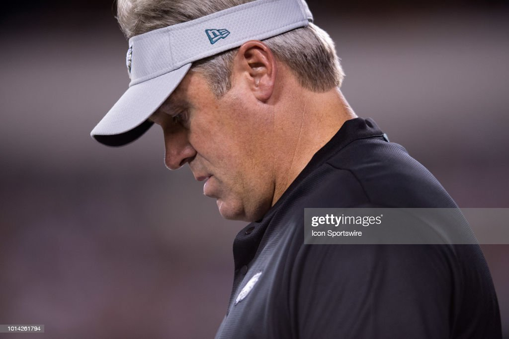 Eagles Head Coach Doug Pederson walks the sideline during the NFL Preseason  game between the Pittsburgh 909218676