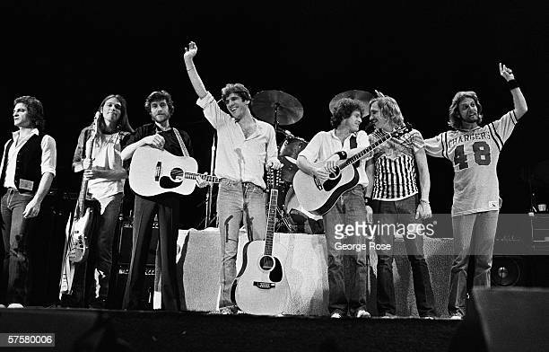 Eagles Joe Vitale Timothy B Schmit JD Souther Glenn Frey Don Henley Joe Walsh and Don Felder at their 'final' 1979 performance as a group at the...