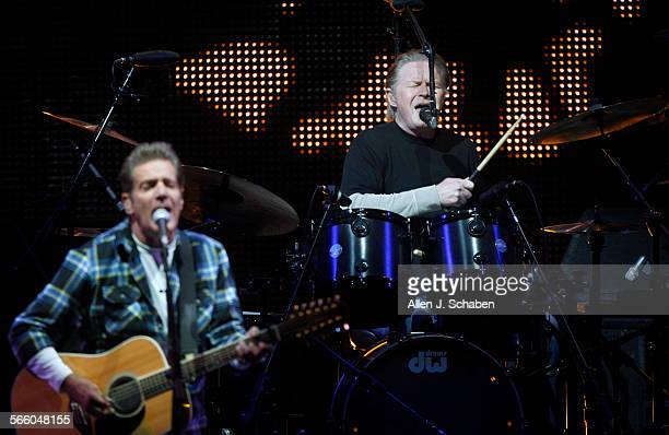 Eagles members Glenn Frey left and Don Henley perform Hotel California at the Hollywood Bowl