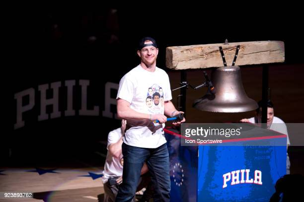 Eagles QB Carson Wentz rings the bell before the game between the Orlando Magic and Philadelphia 76ers on February 24 2018 at Wells Fargo Center in...