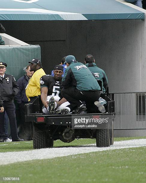 Eagles quarterback Donovan McNabb is carted off the field after a knee injury The Tennessee Titans defeated the Philadelphia Eagles 31 to 13 at...