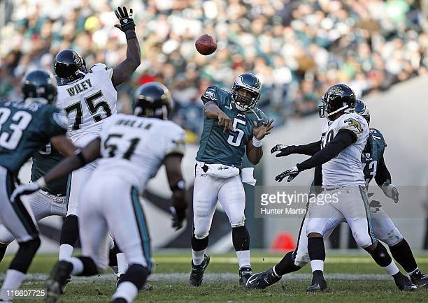 Eagles quarterback Donovan McNabb throws a pass during the game between the Philadelphia Eagles and the Jacksonville Jaguars at Lincoln Financial...