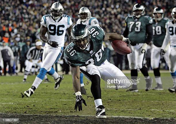 Eagles running back Brian Westbrook scores a second quarter touchdown during the game between the Carolina Panthers and the Philadelphia Eagles at...