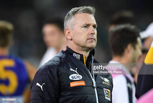 Eagles senior coach Adam Simpson during the AFL First Elimination Final match between Port Adelaide Power and West Coast Eagles at Adelaide Oval on...