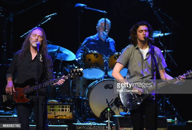Eagles Timothy B Schmit Don Henley and Deacon Frey and Joe Walsh perform during the Eagles in Concert at The Grand Ole Opry on October 29 2017 in...