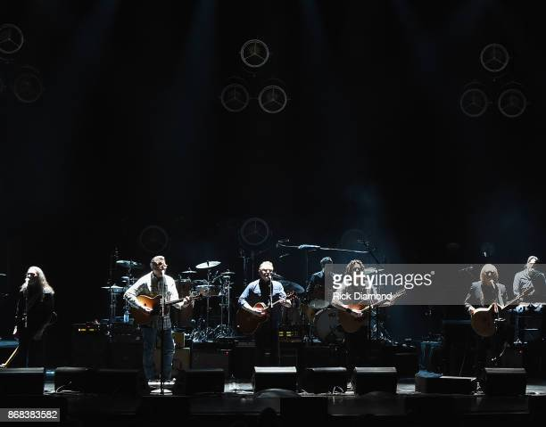 Eagles Timothy B Schmit Vince Gill Don Henley Decon Frey Joe Walsh and Steuart Smith perform during the Eagles in Concert at The Grand Ole Opry on...