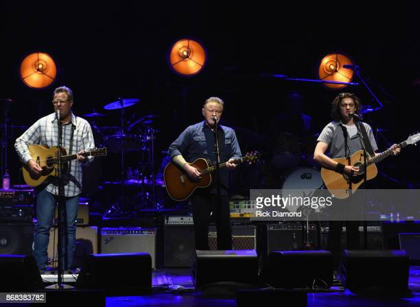 Eagles Vince Gill Don Henley and Deacon Frey perform during the Eagles in Concert at The Grand Ole Opry on October 29 2017 in Nashville Tennessee