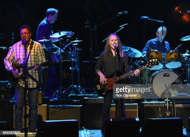 Eagles Vince Gill Timothy B Schmit and Don Henley perform during the Eagles in Concert at The Grand Ole Opry on October 29 2017 in Nashville Tennessee